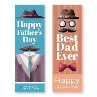 Set di banner per la festa del papà dell'acquerello