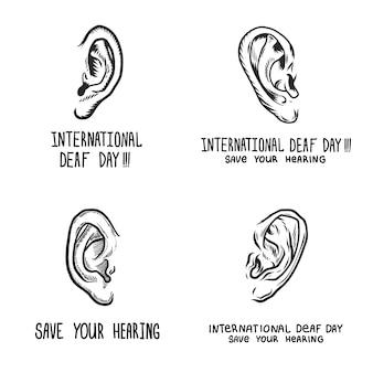 Set di banner per la giornata internazionale della sordità
