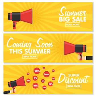 Set di banner per la progettazione del tuo sito web. megafono di annuncio su sfondo vintage pop art. vendite, sconti e altri componenti.