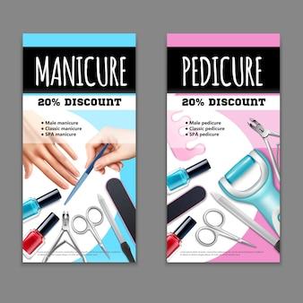 Set di banner per pedicure e manicure