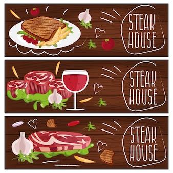 Set di banner per steak house a tema con bistecca, patatine fritte e vino