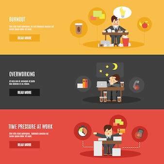 Set di banner piatti di stress al lavoro
