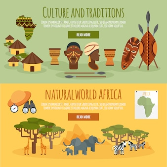 Set di banner piatto africa 2