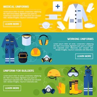 Set di banner piatto attrezzature protettive uniformi