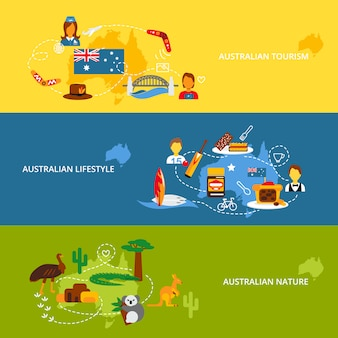 Set di banner piatto australia