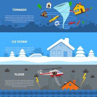 Set di banner piatto concetto di disastro 3