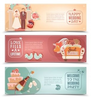 Set di banner piatto concetto di matrimonio