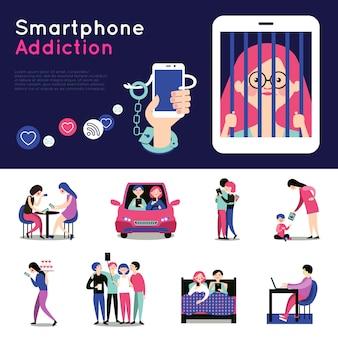 Set di banner piatto di dipendenza da smartphone