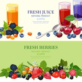 Set di banner piatto di frutti di bosco freschi