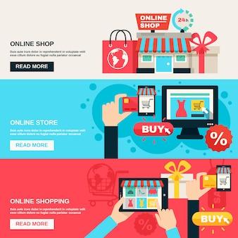 Set di banner piatto di internet shopping