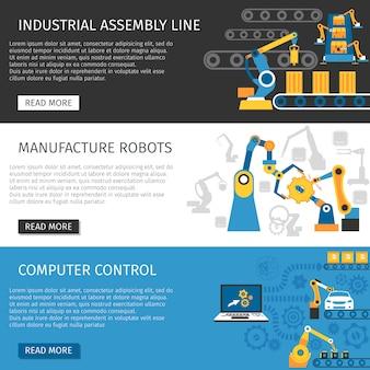 Set di banner piatto di montaggio industriale linea
