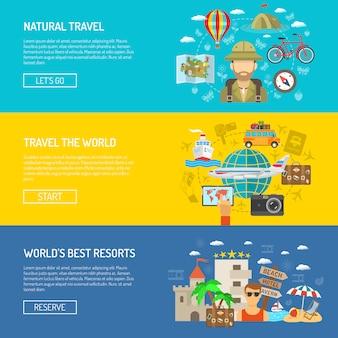 Set di banner piatto di viaggio