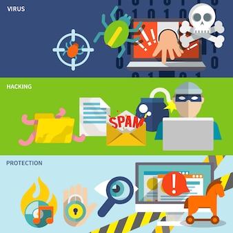 Set di banner piatto icone hacker