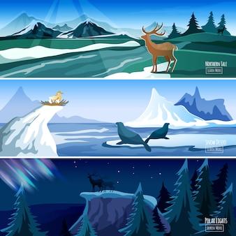 Set di banner piatto paesaggio settentrionale