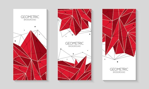 Set di banner poligonale rosso