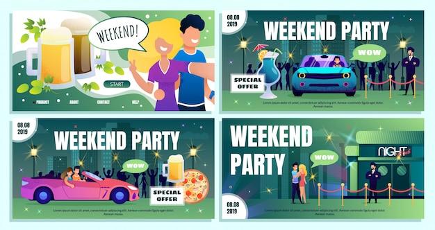 Set di banner pubblicitari di offerte speciali per il weekend in discoteca