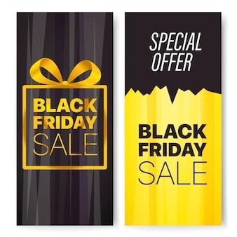 Set di banner pubblicitari verticali, vendita fridat nera