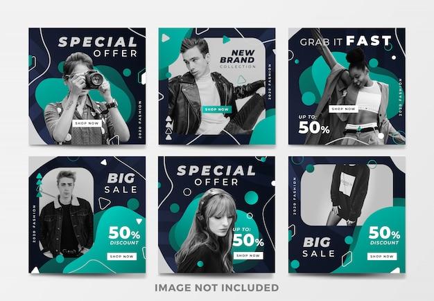 Set di banner quadrati di vendita di moda