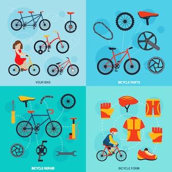 Set di banner quadrati in bicicletta