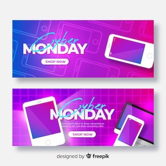 Set di banner realistici cyber lunedì