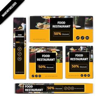 Set di banner ristorante cibo giallo