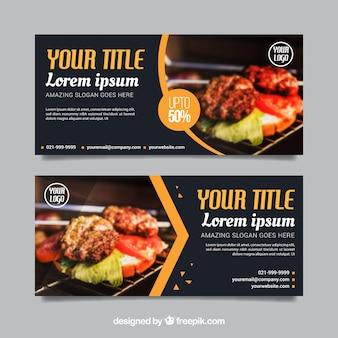 Set di banner ristorante con foto