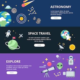 Set di banner spaziali, luna e sistema solare con pianeti con satelliti vicino a terra e set di banner web di razzi o navette spaziali