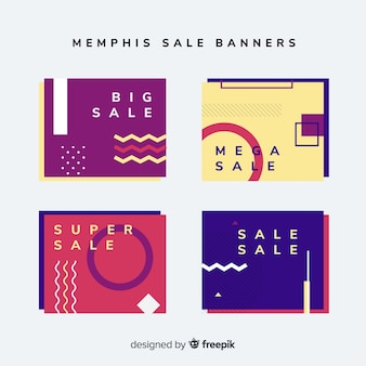 Set di banner stile memphis di vendita
