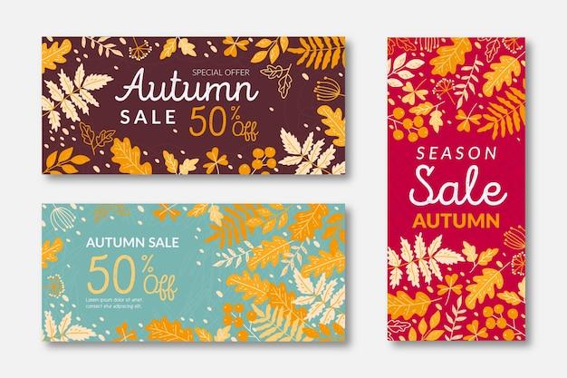 Set di banner vendita autunno disegnati a mano