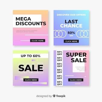 Set di banner vendita gradiente moderno per i social media