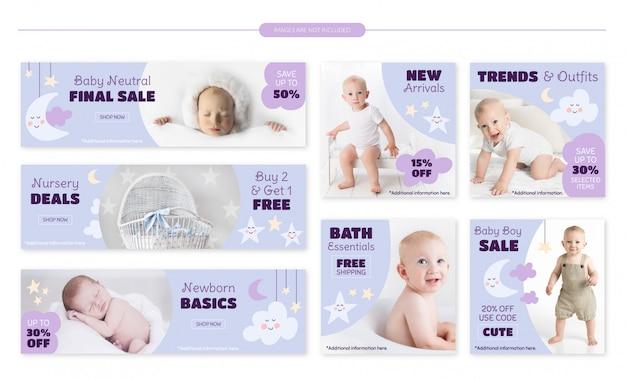 Set di banner vendita negozio bambino