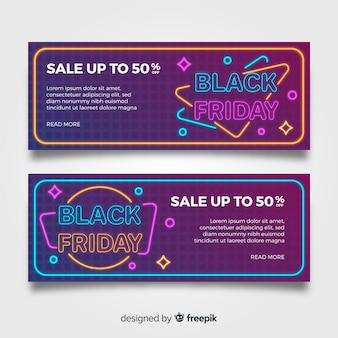Set di banner vendita neon nero venerdì