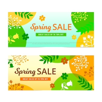 Set di banner vendita primavera design piatto
