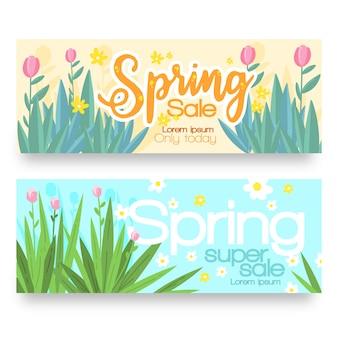 Set di banner vendita primavera disegnati a mano