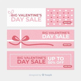 Set di banner vendita semplice san valentino