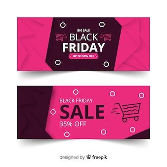 Set di banner venerdì nero design piatto