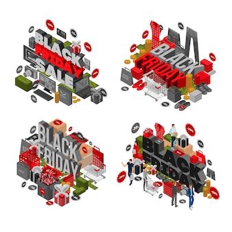 Set di banner venerdì nero. insieme isometrico dell'insegna di vettore di black friday per web design
