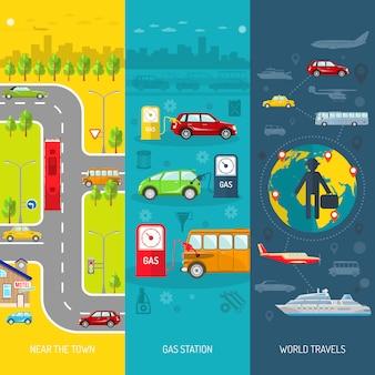 Set di banner verticale piatto di trasporto