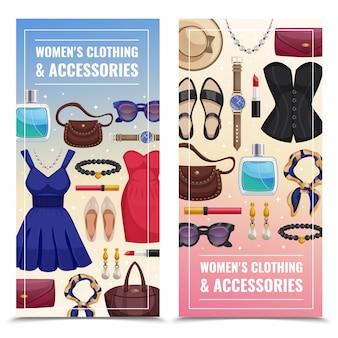 Set di banner verticali accessori donna