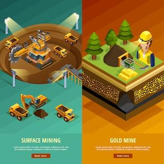 Set di banner verticali di data mining