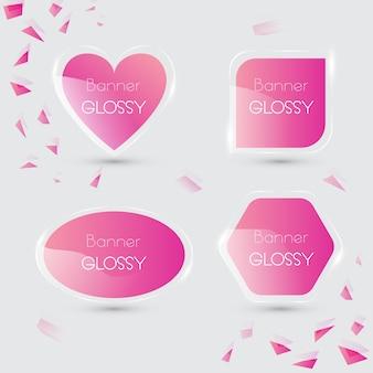 Set di banner vettoriale lucido con colore rosa