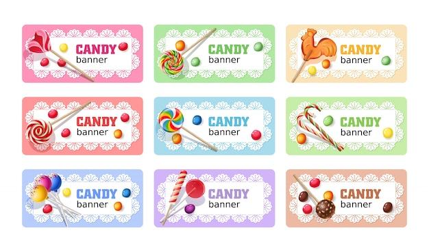 Set di banner vettoriali di lollipop dolce.