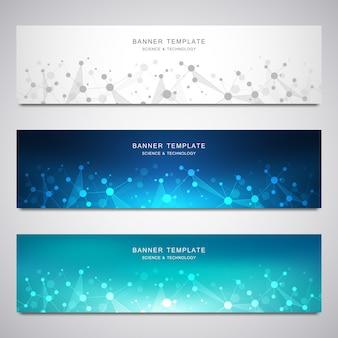 Set di banner vettoriali scientifici e tecnologici.