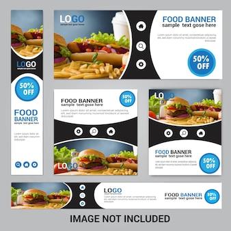 Set di banner web cibo per ristorante cibo