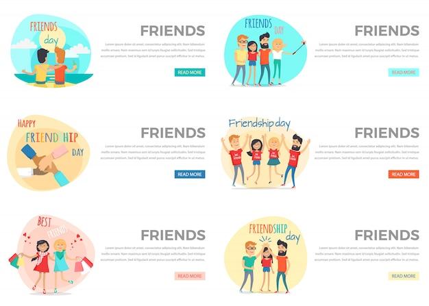 Set di banner web concettuale di amici.