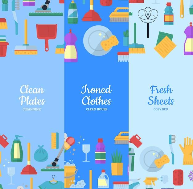 Set di banner web icone piane di pulizia