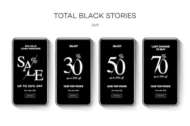 Set di banner web in vendita per i social media. saldi e sconti del black friday