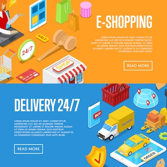 Set di banner web isometrici 3d per lo shopping online 24/7