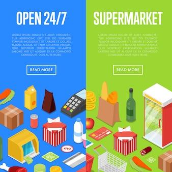 Set di banner web isometrico shopping supermercato aperto 24/7