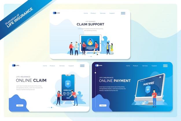 Set di banner web o pagina di destinazione per illustrazioni di assicurazione sulla vita